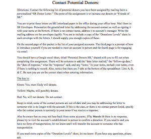 This is the informational packet guide for interns that I created regarding contacting potential donors.