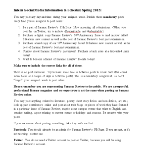 I created the informational packet for interns to post on social media.